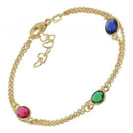 trendor 51189 Women's Bracelet Gold Plated Silver 925 with Colourful Quartz