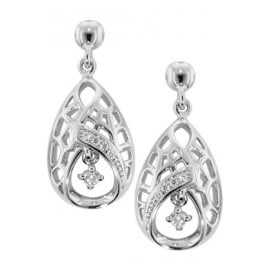 trendor 69937 Silver Drop Earrings with Cubic Zirconia Drop-Shaped