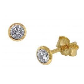 trendor 86328 Stud Earrings Men And Women 333 Gold Cubic Zirconia 4.5 mm