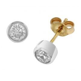 trendor 51849 Ohrringe mit Zirkonia Gold 333 Bicolor Ohrstecker