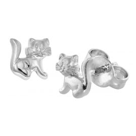trendor 08488 Silver Children's Earrings Cat