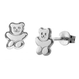trendor 08487 Teddy Bear Girls Earrings Silver