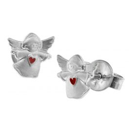 trendor 08535 Silver Kids Earrings Angel with Red Heart