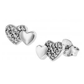 trendor 08537 Silver Stud Earrings Heart Zirconia