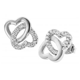 trendor 08604 Silver Earrings Entwined Hearts