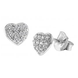 trendor 08771 Silver Earrings Heart with Cubic Zirconias Pavé