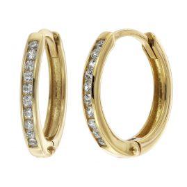 trendor 08825 Klappcreolen Gold 585 12 mm Zirkonia