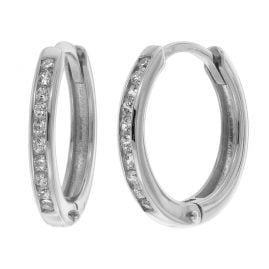 trendor 08827 Hoop Earrings White Gold 585 12 mm Cubic Zirconia