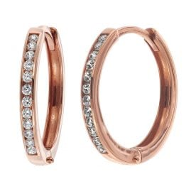 trendor 08829 Hoop Earrings Rose Gold 585 15 mm Cubic Zirconia