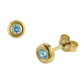 trendor 75030 Ohrstecker für Damen Gold 333 mit Mint Zirkonia 5,5 mm