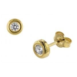 trendor 75031 Damen-Ohrringe Ohrstecker Gold 333 mit Zirkonia 5,5 mm