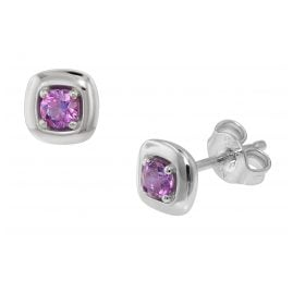 trendor 75083 Ladies' Studs Silver 925 with Purple Zirconia 6 mm