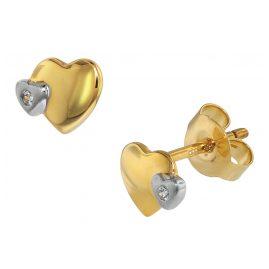 trendor 75108 Ohrringe für Kinder 333 Gold/8 Kt Bicolor Doppelherz Zirkonia
