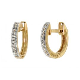 trendor 75359 Hoop Earrings 12 mm Gold 585 / 14K Cubic Zirconias