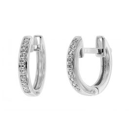trendor 75360 Hoop Earrings 12 mm White Gold 585 / 14K Cubic Zirconias