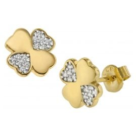 trendor 75565 Earrings Four-Leaf Clover Gold 333 / 8 Carat