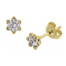 trendor 75795 Stud Earrings Cubic Zirconia 333 Gold 8 Carat