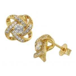 trendor 75841 Stud Earrings Gold Plated Silver Knot Cubic Zirconia