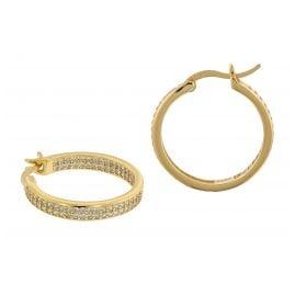 trendor 75842 Creolen Ohrringe Gold auf Silber Ø 20 mm Zirkonia