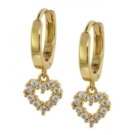 trendor 75843 Drop Earrings Gold Plated Silver Cubic Zirconia Hoops