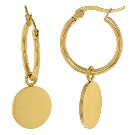 trendor 75898 Ohrringe Gold auf Edelstahl Creolen mit Anhänger