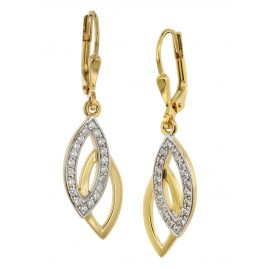 trendor 39012 Drop Earrings Gold Plated 925 Silver Cubic Zirconia