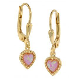 trendor 39033 Girl's Earrings Gold Plated Silver Synthetic Opal