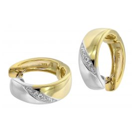 trendor 39062 Ladies' Hoop Earrings Gold 333 Two-Colour with Cubic Zirconias