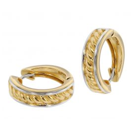 trendor 39063 Ladies' Hoop Earrings Gold 333 Two-Colour