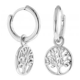 trendor 51020 Damen-Ohrringe Creolen mit Lebensbaum 925 Silber
