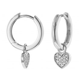 trendor 51033 Hoop Earrings with Heart Pendant 925 Silver