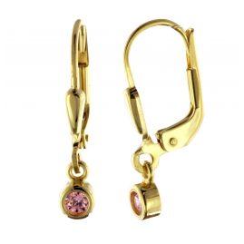 trendor 51096 Ohrringe Ohrhänger mit Pink-Zirkonia Gold 333 / 8 K