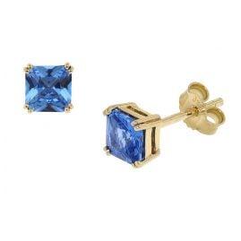 trendor 51680-03 Damen-Ohrringe Gold 333 / 8K Zirkonia London Blau