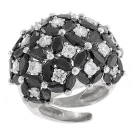 trendor 65892 Silber Ring Zirkonia schwarz/weiß
