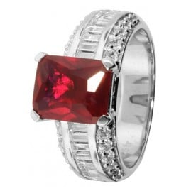 trendor 68367 Silver Ring Rubin Red