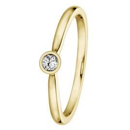 trendor 532491 Verlobungsring für Damen 585 Gelbgold mit Diamant 0,10 ct