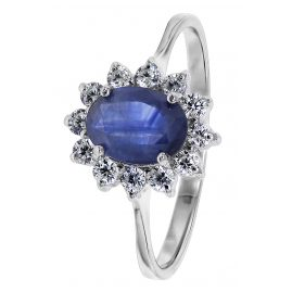 trendor 08786 Ladies' Ring Silver with Syth. Sapphire and Cubic Zirconia