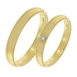 trendor 2002 Eheringe Paar Gold 375 Trauring-Set Diamant