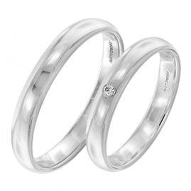 trendor 2003 Eheringe Paar Weißgold 375 Trauring-Set Diamant