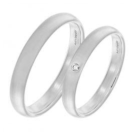trendor 2004 Eheringe Paar Weißgold 375 Trauring-Set mit Diamant