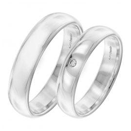 trendor 7003 Eheringe Paar Weißgold 375 Trauring-Set Diamant
