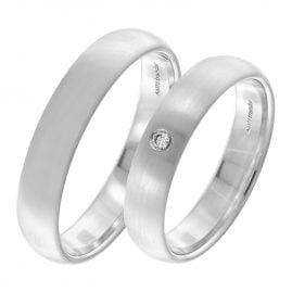 trendor 7004 Eheringe Paar Weißgold 375 Trauring-Set Diamant 0,03