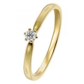 trendor 26932.010GG Damenring mit Brillant Gelbgold 585/14 Kt. Diamant 0,10 ct