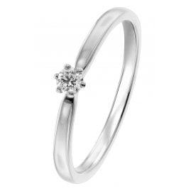 trendor 26932.010WG Damenring mit Brillant Weißgold 585/14 Kt. Diamant 0,10 ct
