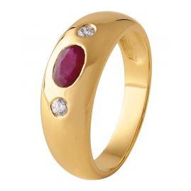 trendor 22749.050GR Bandring Gold 585/14 Kt. mit Rubin und Diamanten