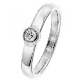 trendor 26568.015WG Damenring mit Brillant Weißgold 585/14 Kt. Diamant 0,15 ct