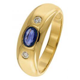 trendor 22749.054GG Bandring Gold 585/14 Kt. mit Saphir und Diamanten