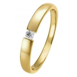 trendor 26977.005GG Damen-Brillantring Gelbgold 585/14 Kt. mit Diamant 0,05 ct