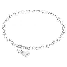 trendor 08302 Silver Anklet with Heart Pendant
