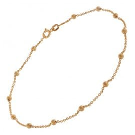 trendor 75657 Anklet with Beads Gold-Plated Silver